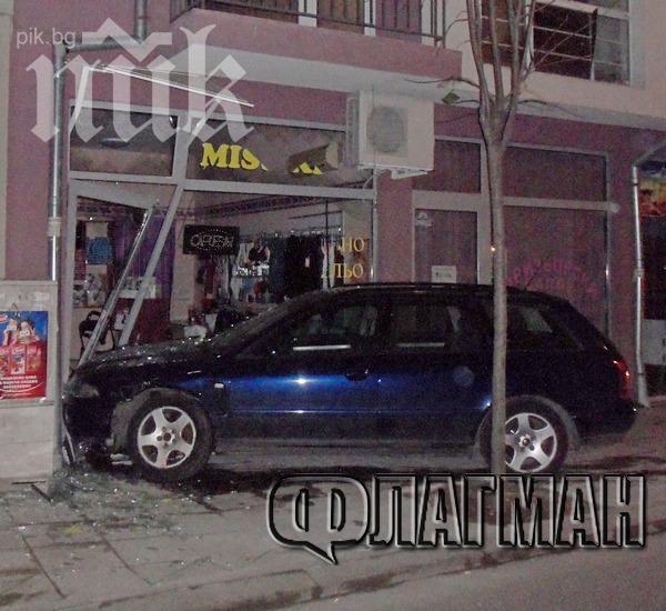 Екшън насред Бургас! Мъж в опел блъска жена в ауди, която помита магазин! Таксиджия и полиция го преследват!