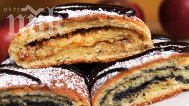 Пухкави рула със сладко и орехи (стъпка по стъпка)