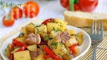 Задушени зеленчуци с пилешко
