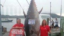 Жена улови риба тон с тегло 411 кг