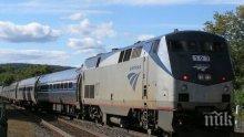 Влак пламна като факла в САЩ (видео)