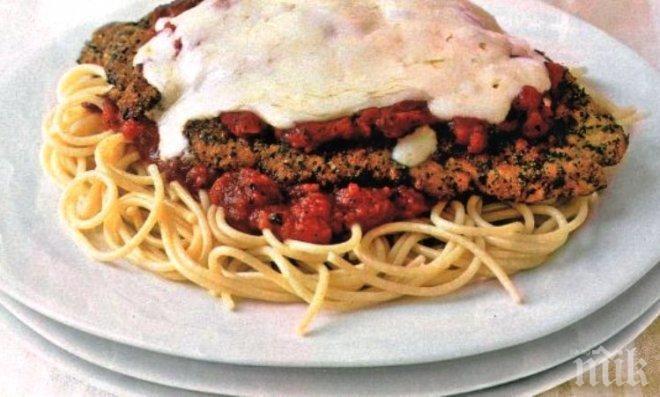 Спагети с шницел