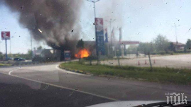ИЗВЪНРЕДНО В ПИК! Нов ужас на Тракия! Тир избухна в пламъци до бензиностанция Еко! (обновена)
