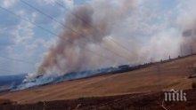 "ПЪРВО В ПИК! Пожар край автомагистрала ""Струма""! Пламъците изплашиха до смърт шофьорите"