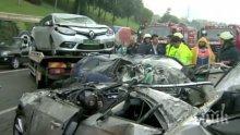 """Зверска катастрофа край Чирпан! Три коли се удариха на """"Тракия"""", двама са  откарани в болница"""