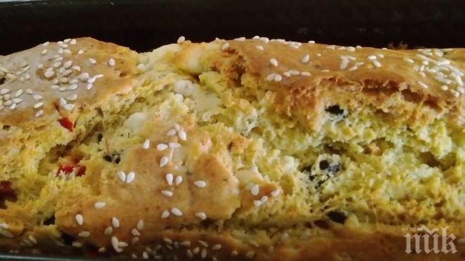 Ароматен хляб с пресни зелени подправки