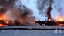 УЖАС В САЩ! Влак излезе от релсите,8 цистерни с етанол избухнаха