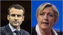 Проучване дава преднина на Макрон пред Льо Пен на изборите във Франция
