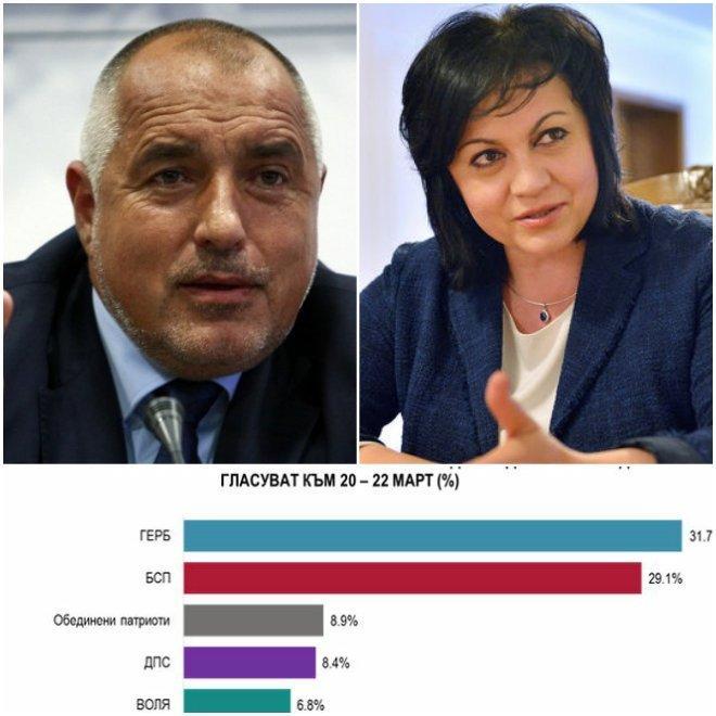 """Последно проучване на """"Алфа Рисърч"""": ГЕРБ води на БСП, 5 партии влизат в парламента (ГРАФИКА)"""