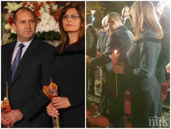 Радев и генерал Деси откраднаха Великден - президентът и първата дама напълниха храма с охрана, червени килими и лимузини (СНИМКИ)