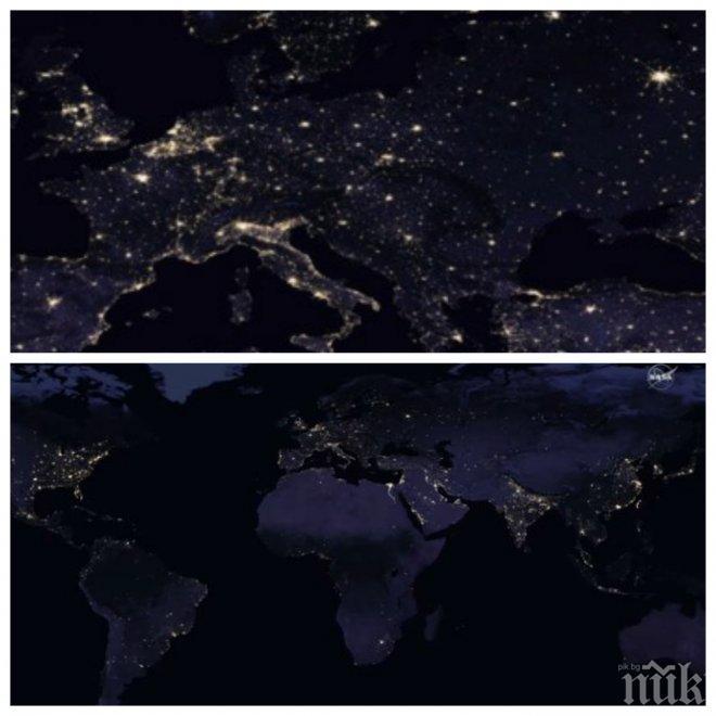 Вижте Земята, гледана от Космоса през нощта (ВИДЕО)