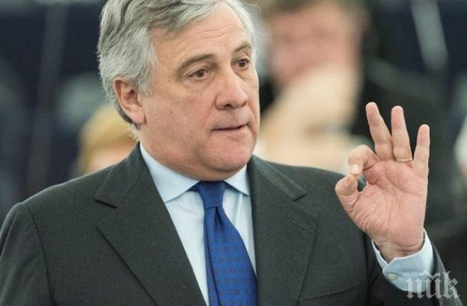 Председателят на Европарламента Антонио Таяни: Великобритания ще бъде приветствана обратно, ако избирателите решат да преразгледат Брекзит