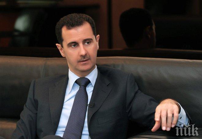 Асад е готов за тристранна среща с президентите на Русия и Иран