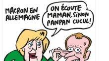 Меркел към Макрон: Слушай мама, иначе ще има на-на, в карикатура на Шарли Ебдо