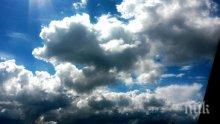 Времето днес! Значителна облачност в Западна и Централна България, в отделни райони условя за градушки