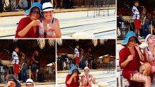 НАЗДРАВЕ! Ирина Тенчева и Алекс Сърчаджиева се наливат с шотове от обяд в Гърция