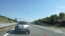 """Катастрофа на """"Струма"""", кола се заби в стълб с камери"""