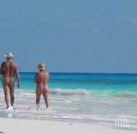 Глобиха нудисти на плаж Делфин