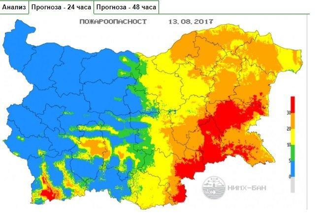 Екстремален e индексът за пожароопасност в 6 области на страната за утре