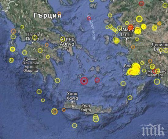 ТРУС! 4,7 по Рихтер разлюля Гърция