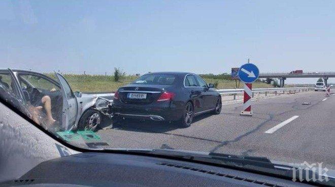 """ТАПА! Три коли се нанизаха на """"Тракия"""", няма пострадали"""