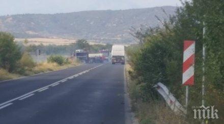 важно два часа отварят пътя пловдив където изгоря камиона бутилки метан