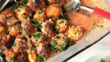 Печени кюфтета с картофи