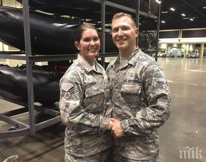 """Дълг! Американски летци се ожениха и веднага се включиха в спасителните операции за пострадалите от урагана """"Ирма"""""""