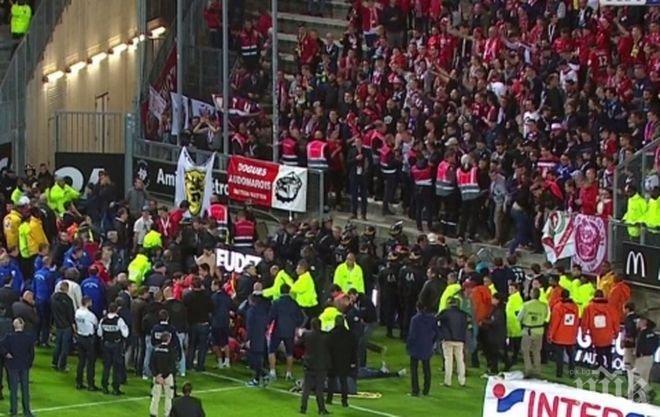 Ужас във Франция! Преграда от трибуна се срути в мач от Лига 1, има ранени (ВИДЕО)