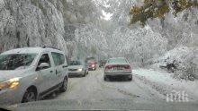 ИЗВЪНРЕДНО! Шофьори с летни гуми затънаха в Петрохан! Снегът покри пътя!