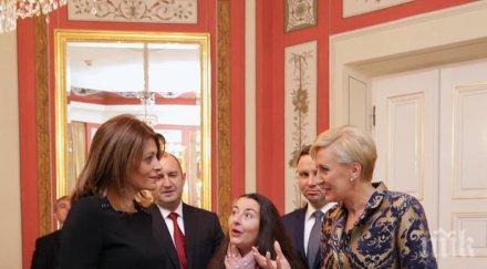 Десислава Радева със сдържан тоалет в Полша! Жената на президента се появи в черно от главата до петите (СНИМКИ)