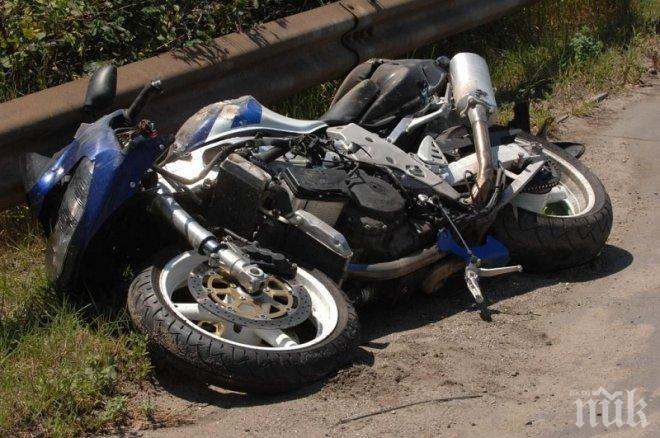 Шофьорка отнесе моторист край Кюстендил, има много фрактури