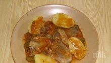 Телешки език с картофи