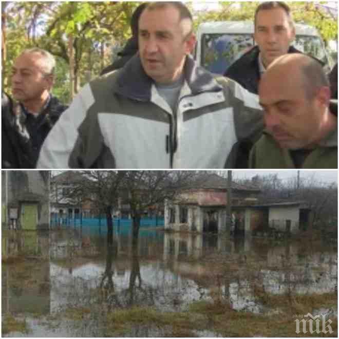 БЕЗОБРАЗИЕ! Румен Радев си прави пиар с потопа в Бургаско седмица след бедствието – защо не се окаля, докато валеше и кметът и министрите спасяваха хората