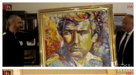 """ПЪРВО В ПИК! Станишев дарява Ламбо с портрет за ЧРД! Надписа го: """"За бате Серго от Серго"""""""