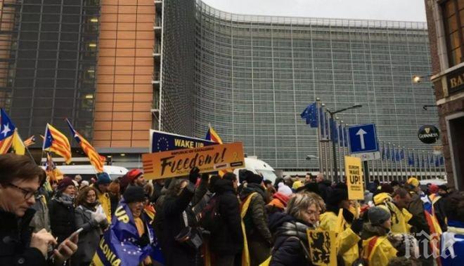 Близо 50 000 души се включиха в демонстрациите в подкрепа на независимостта на Каталуния в Брюксел