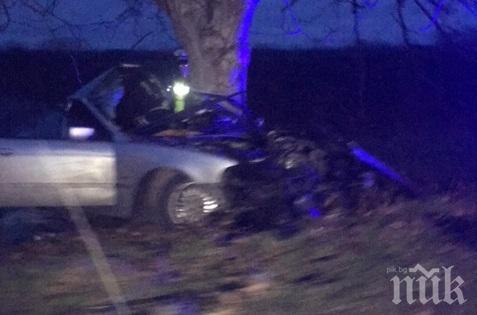 Кола се разпадна при жесток удар в дърво