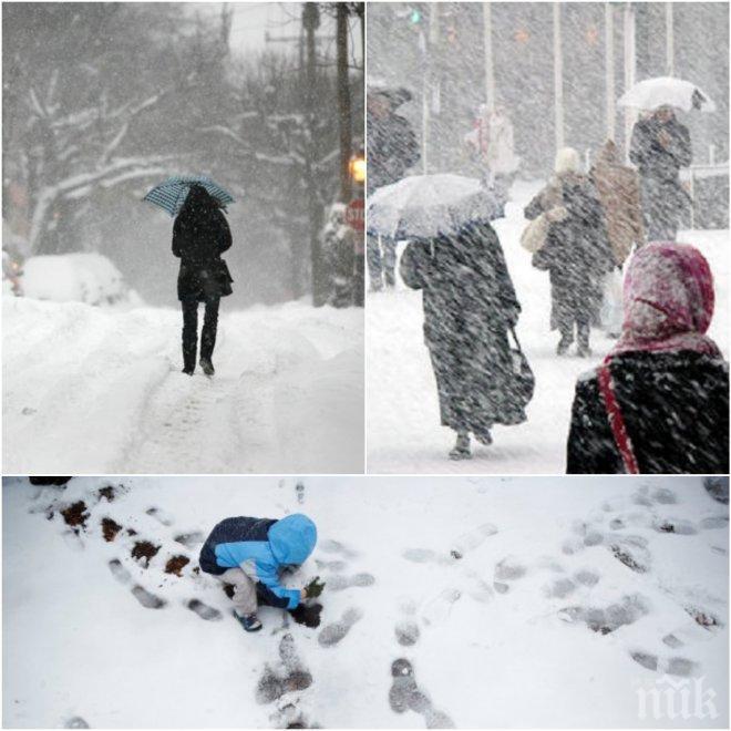 ЗИМАТА СЕ ЗАВЪРНА! Сняг вали в почти цялата страна, в понеделник ще натрупа много