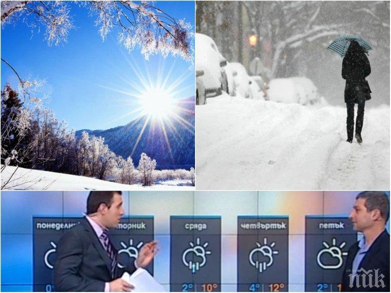 ЗИМНИ АНОМАЛИИ! Слънцето остава до сряда, от четвъртък времето се разваля - ще натрупа и сняг