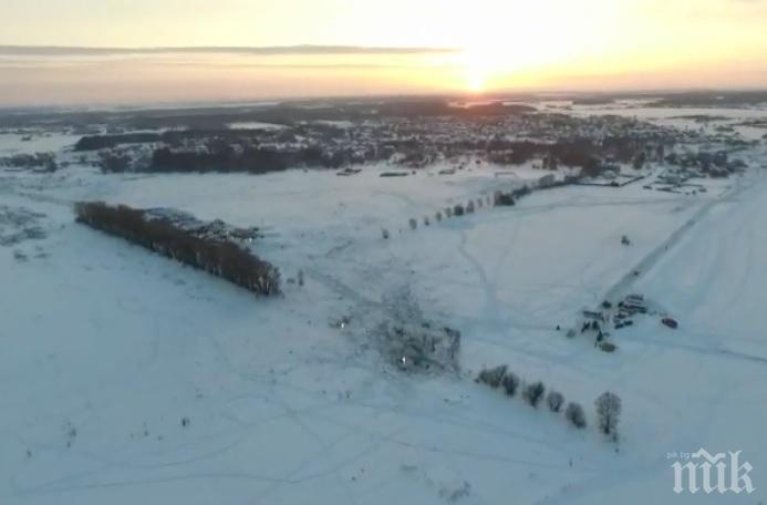 ИЗВЪНРЕДНО В ПИК! Появи се ново видео от мястото на падането на руския Ан-148