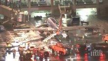 На косъм от трагедията! Самолет се запали на летището в Лос Анджелис (ВИДЕО)
