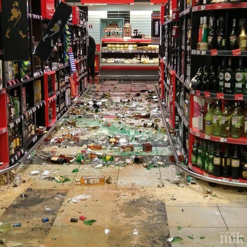 ВЪЗДЪРЖАТЕЛ ИЛИ ХУЛИГАН? Побеснял мъж вилня в магазин, изпотроши алкохол за 3 бона (СНИМКА)