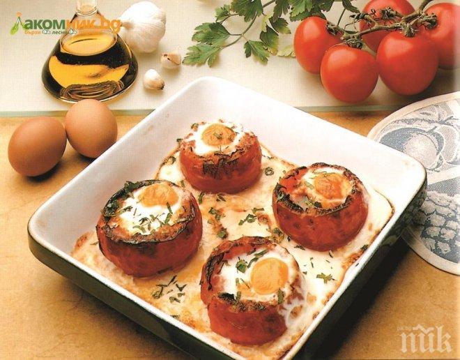 Пълнени домати с яйца
