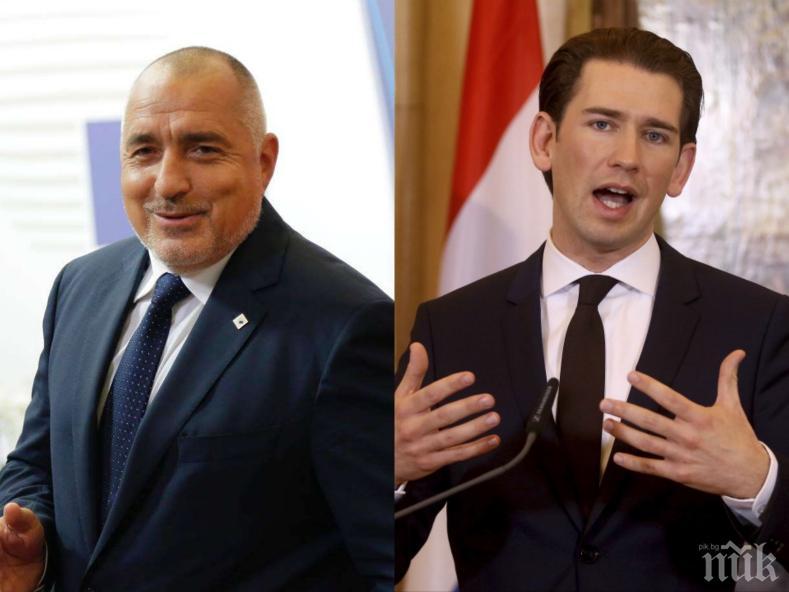 Премиерът Борисов с поредна важна среща, приема утре канцлера на Австрия Себастиан Курц