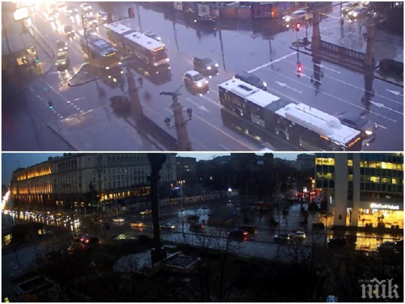 ИЗВЪНРЕДНО В ПИК! Страшна буря затрудни трафика в София