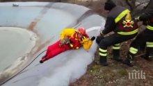 Пожарникари в Италия спасиха лисица от леден капан