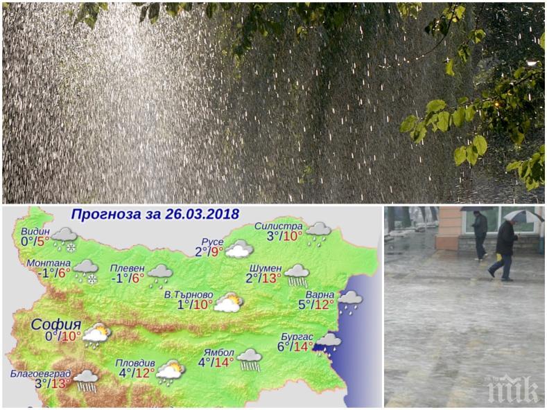 КАПРИЗИ НА ВРЕМЕТО! Температурите скачат, но много дъжд и поледици развалят понеделника