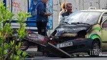 Такси пламна в движение в Благоевград (СНИМКА)