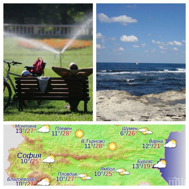 ЖЕГИТЕ ПРОДЪЛЖАВАТ! И днес ще е горещо, по-хладно ще бъде край морето
