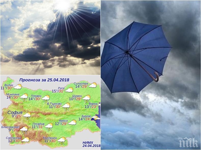 Времето се колебае между слънце и дъжд! Тежки облаци надвисват над Родопите - има опасност от градушки